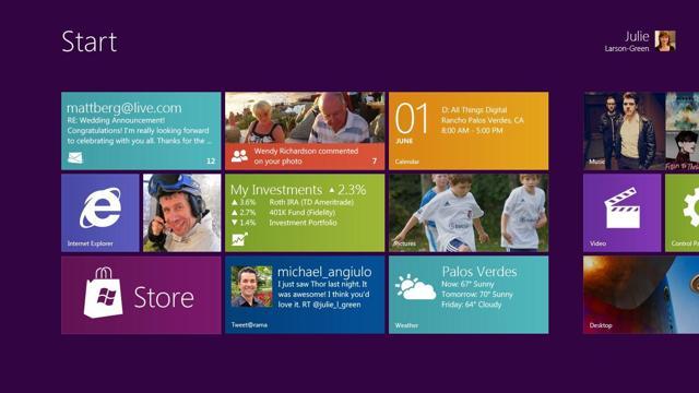 Picture of Microsoft's Windows Metro UI