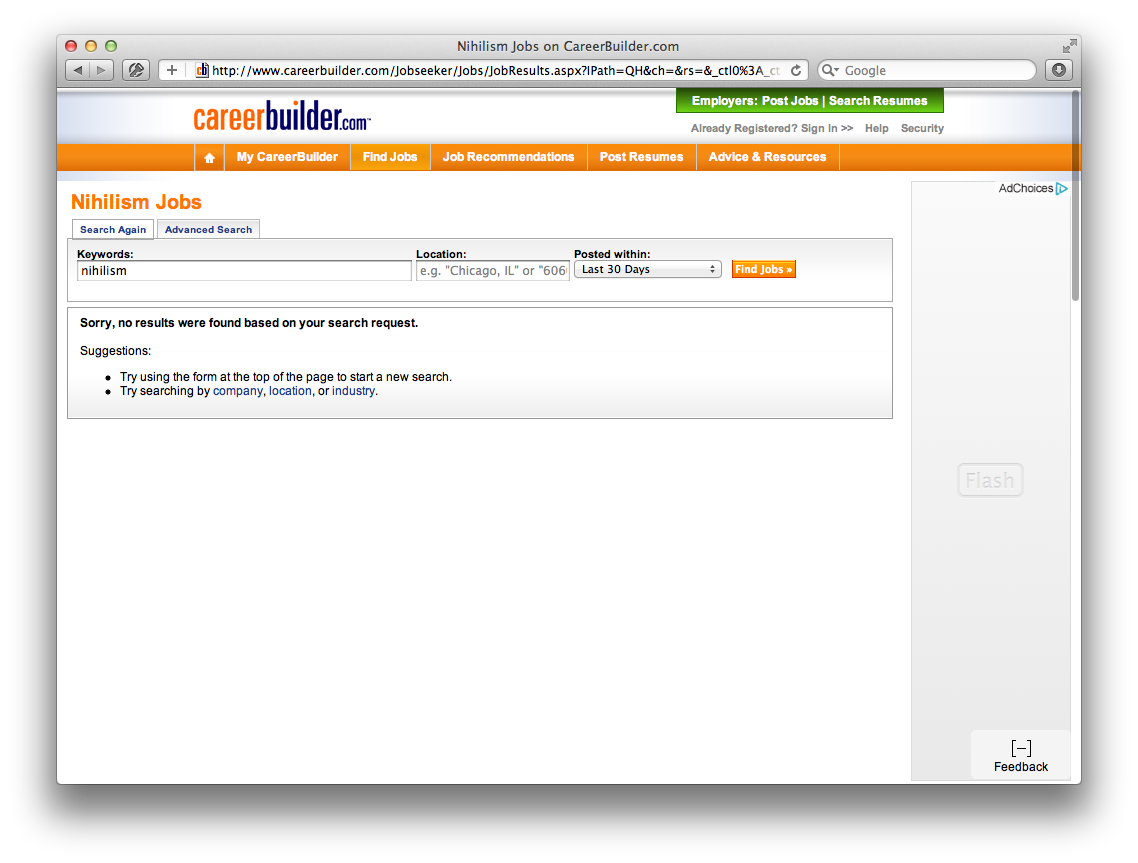 No jobs for nihilists on Careerbuilder